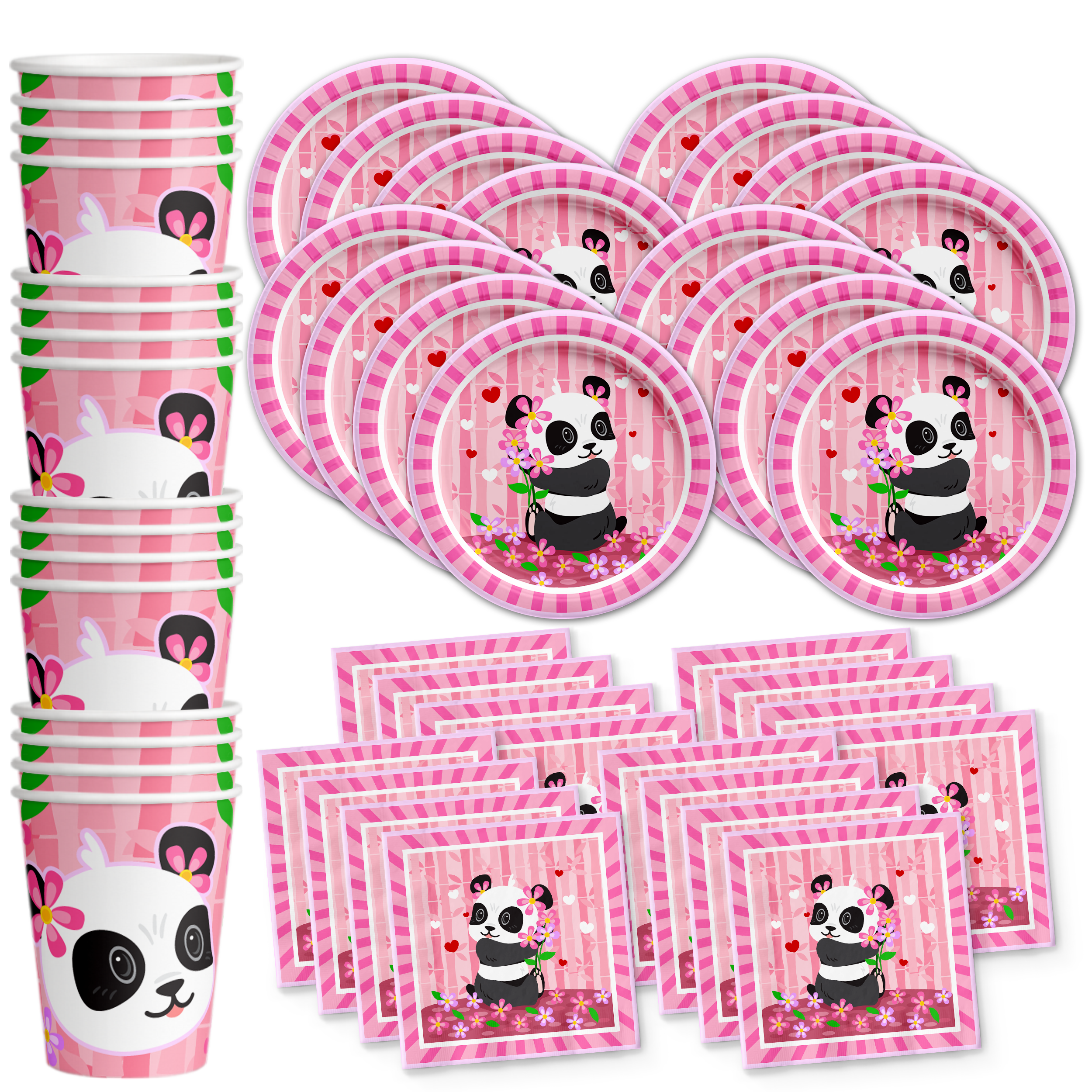 Panda Birthday Party Tableware Kit For 16 Guests - BirthdayGalore.com