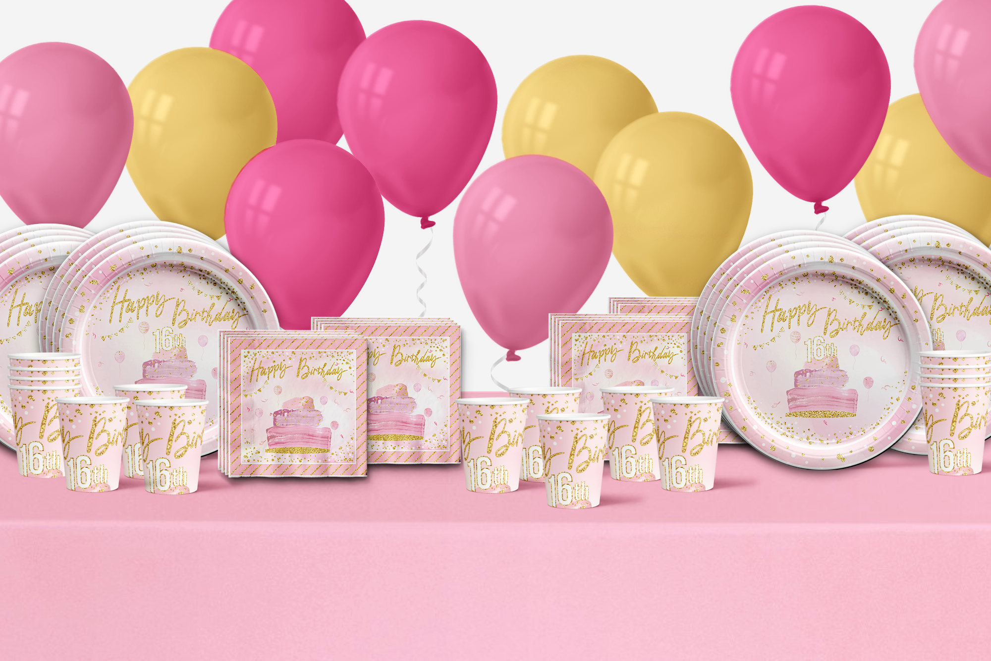 Sweet 16th Pink and Gold Birthday Party Tableware for 16 Guests - BirthdayGalore.com