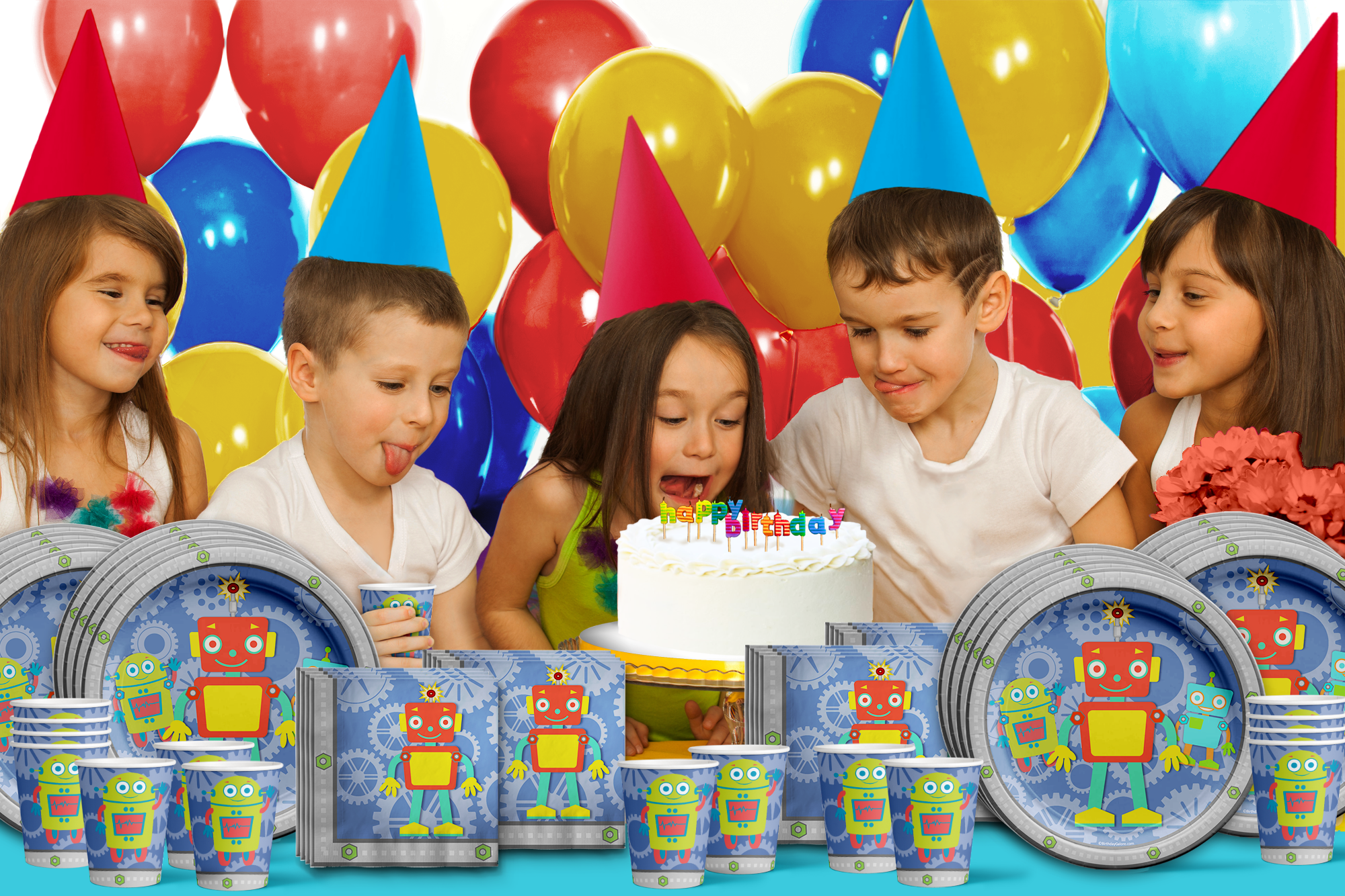 Robot Birthday Party Tableware Kit For 16 Guests - BirthdayGalore.com