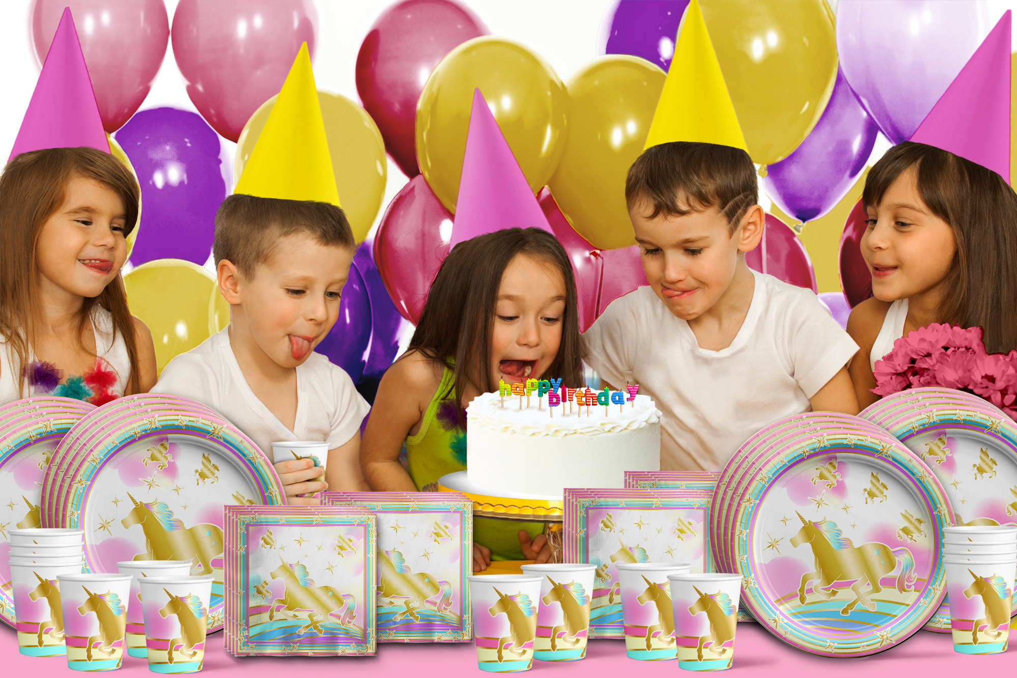 Unicorn Gold Birthday Party Tableware Kit For 16 Guests - BirthdayGalore.com