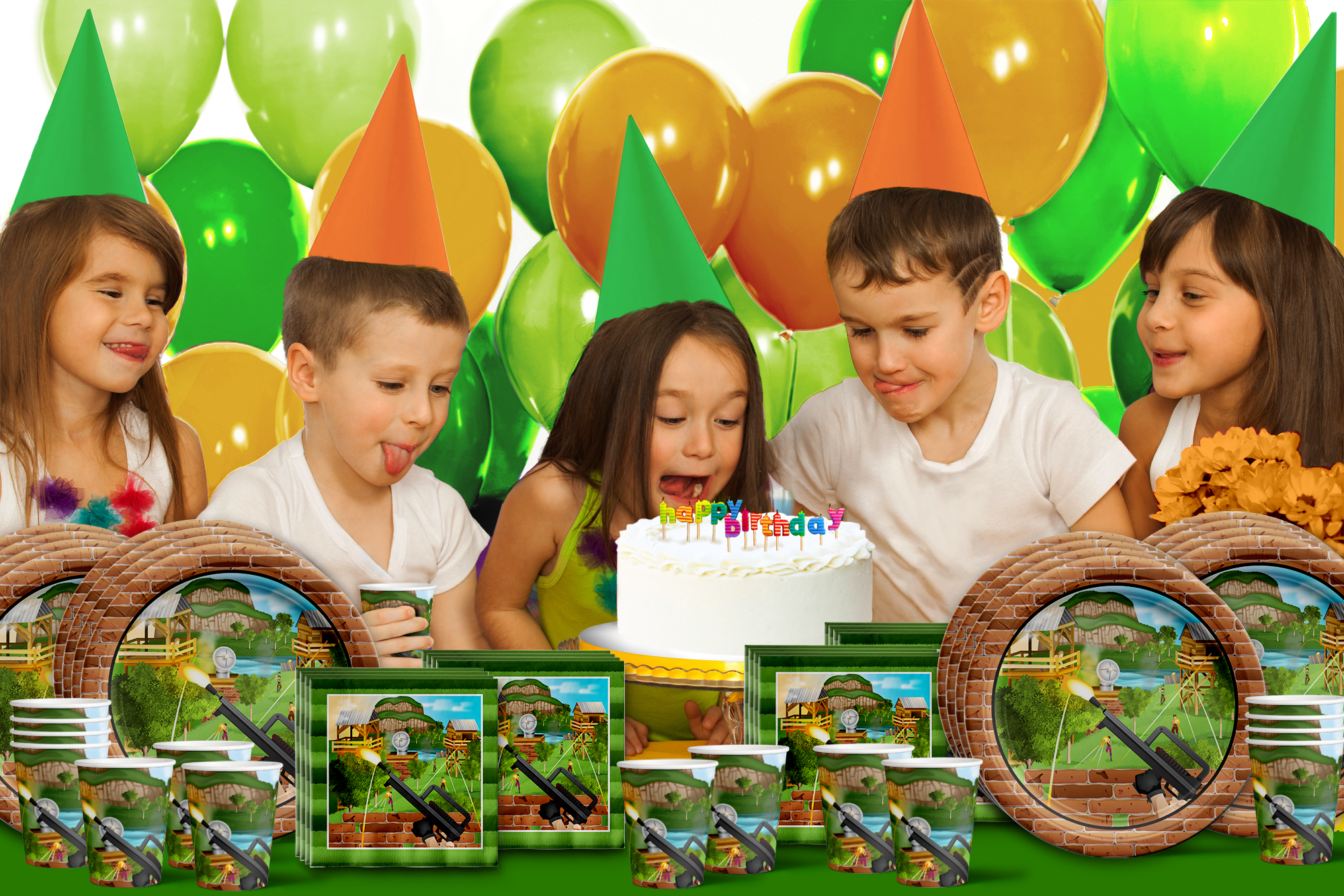 Fortress Birthday Party Tableware Kit For 16 Guests - BirthdayGalore.com