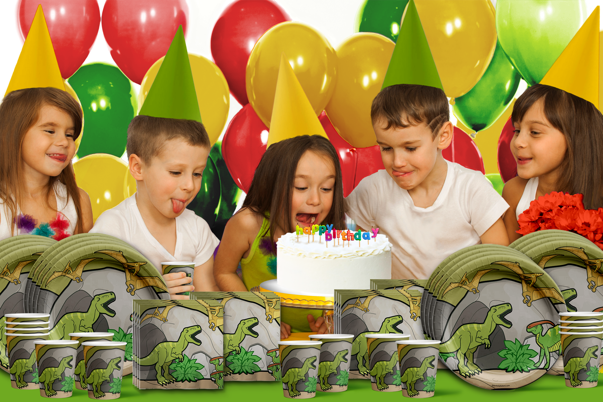 Roaring Dino T-Rex Birthday Party Tableware Kit For 16 Guests - BirthdayGalore.com