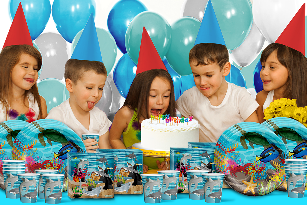 Maui the Shark Birthday Party Tableware Kit For 16 Guests - BirthdayGalore.com