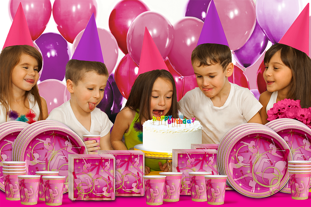 Pink & Gold Gymnastics Birthday Party Tableware Kit For 16 Guests - BirthdayGalore.com