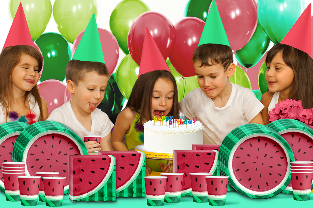 Watermelon Birthday Party Tableware Kit For 16 Guests - BirthdayGalore.com