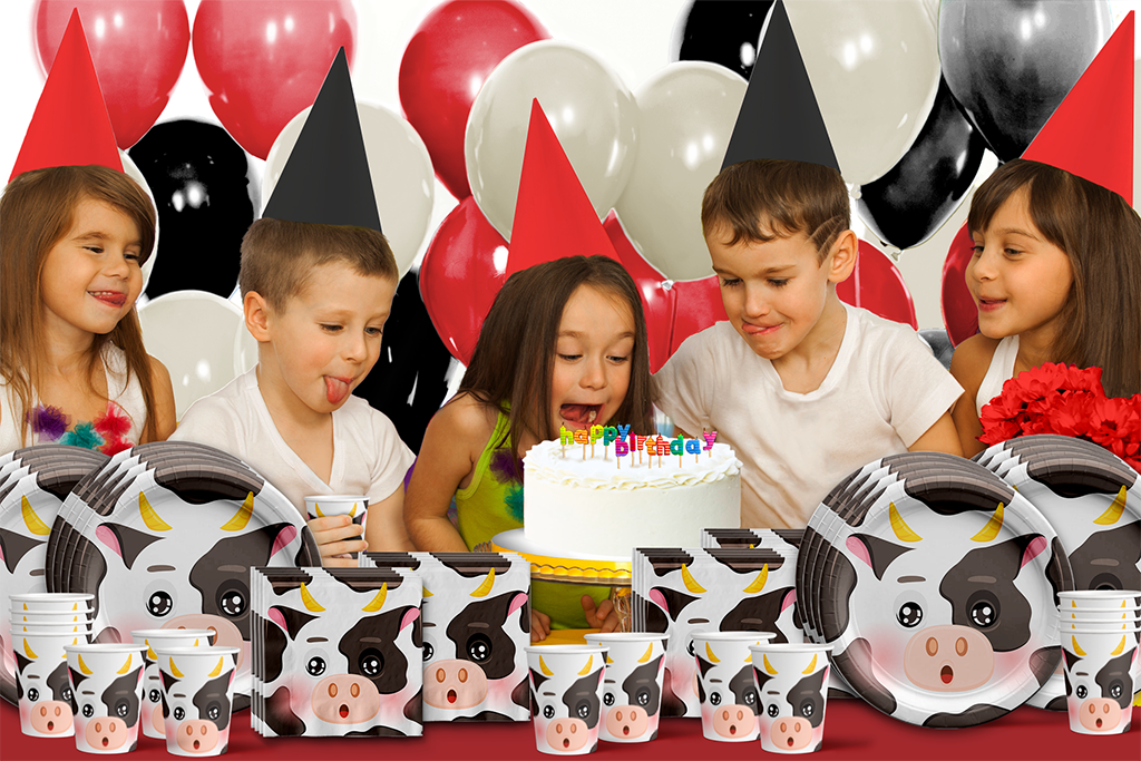 Cow Birthday Party Tableware Kit For 16 Guests - BirthdayGalore.com