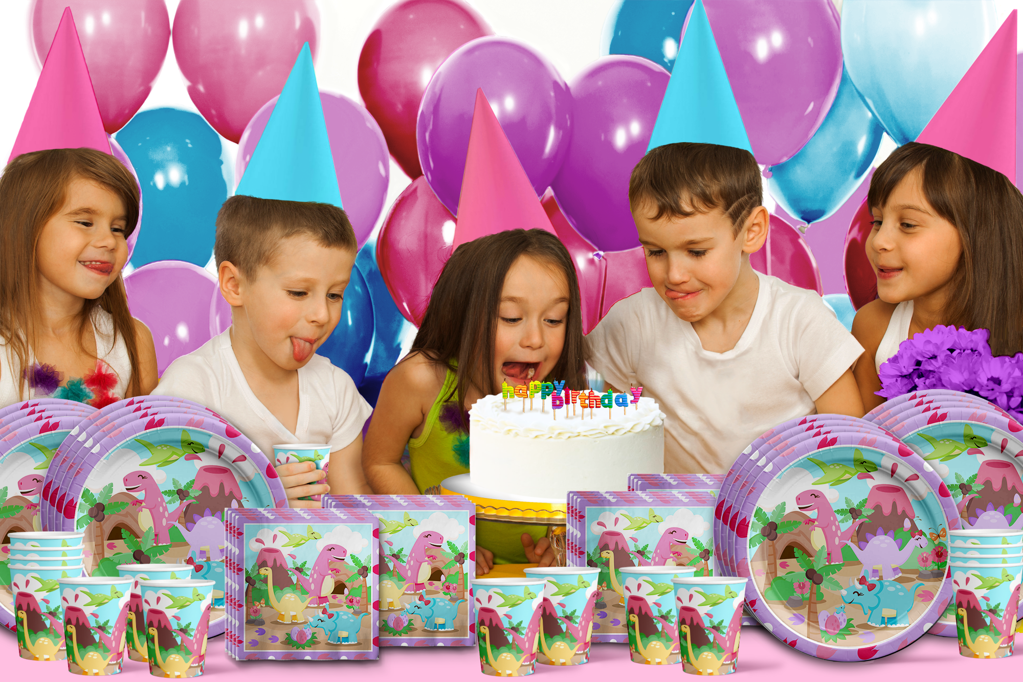 Girl Little Dino Pink Dinosaur Birthday Party Tableware Kit For 16 Guests - BirthdayGalore.com