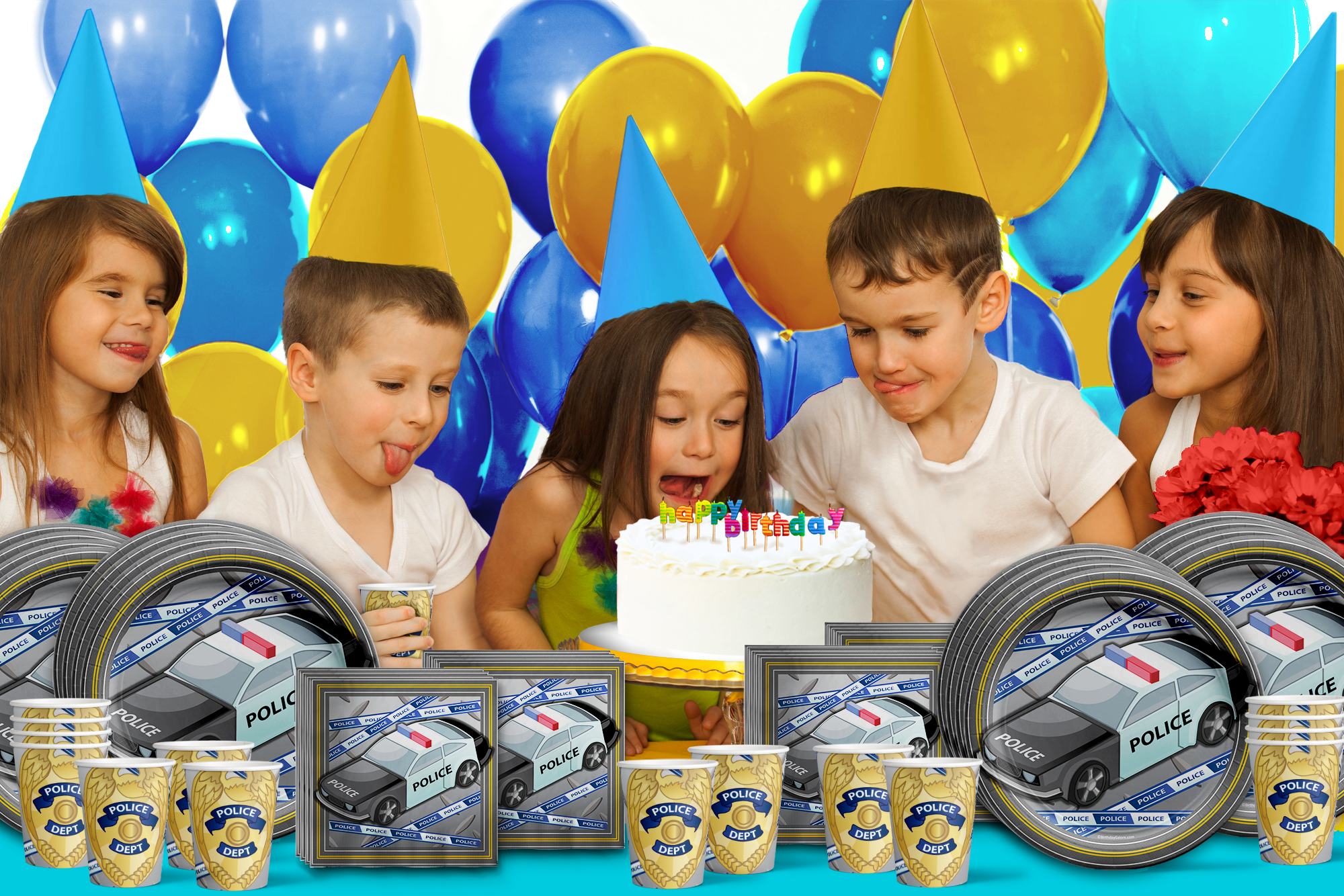 Police Cop Birthday Party Tableware Kit For 16 Guests - BirthdayGalore.com
