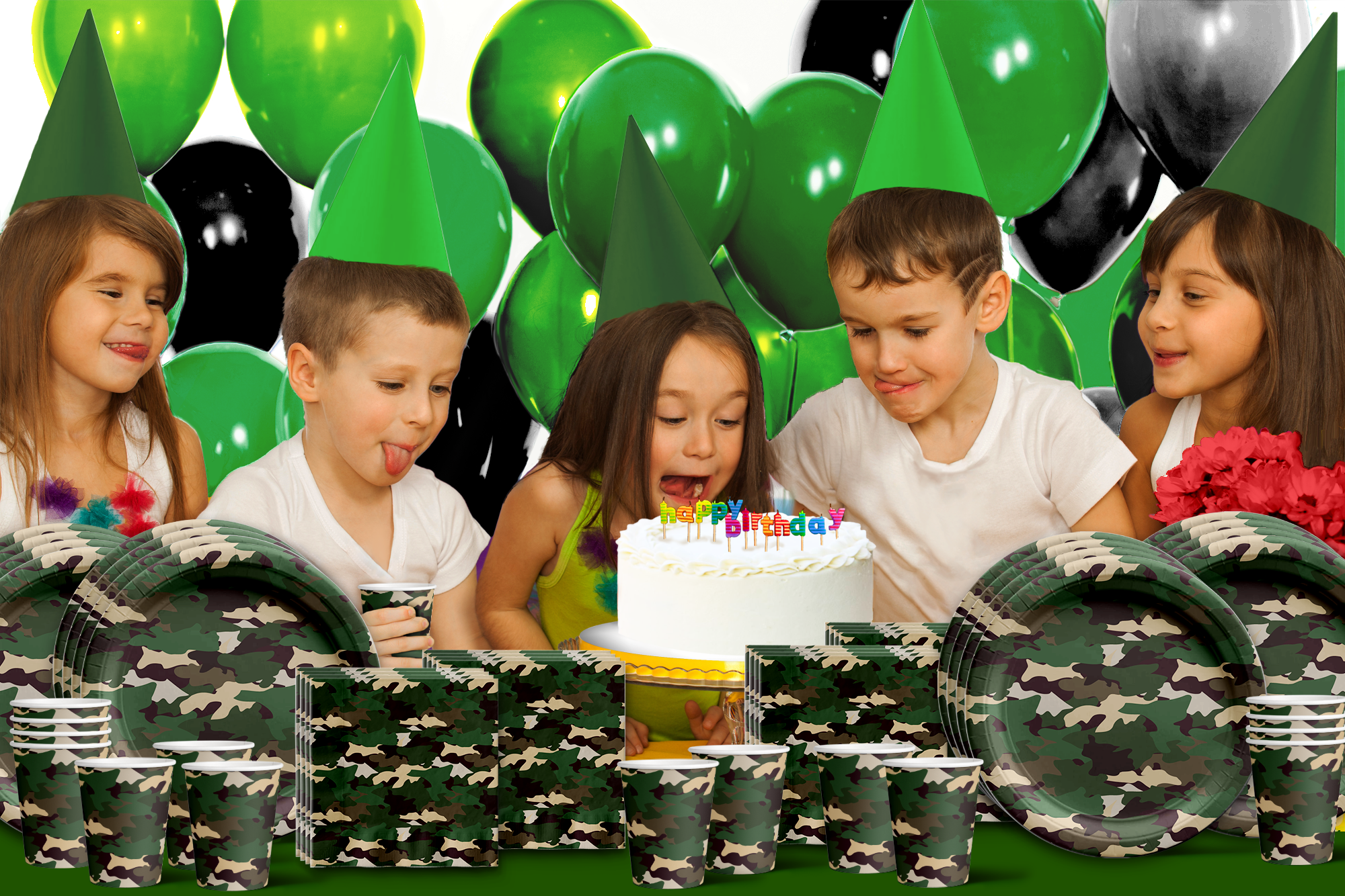 Classic Camo Birthday Party Tableware Kit For 16 Guests - BirthdayGalore.com