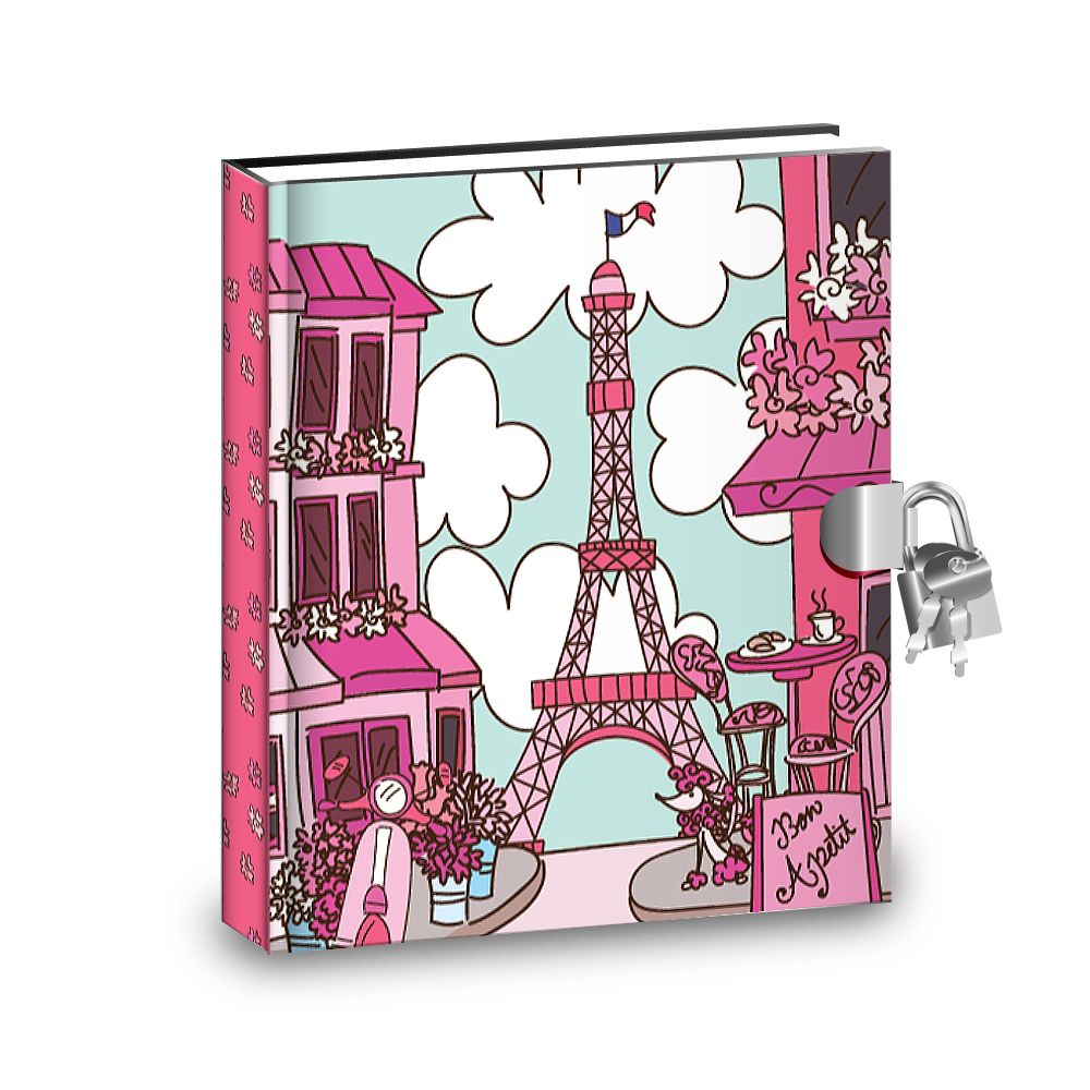 Gift Idea: Pink Paris Kids Diary With Lock - BirthdayGalore.com