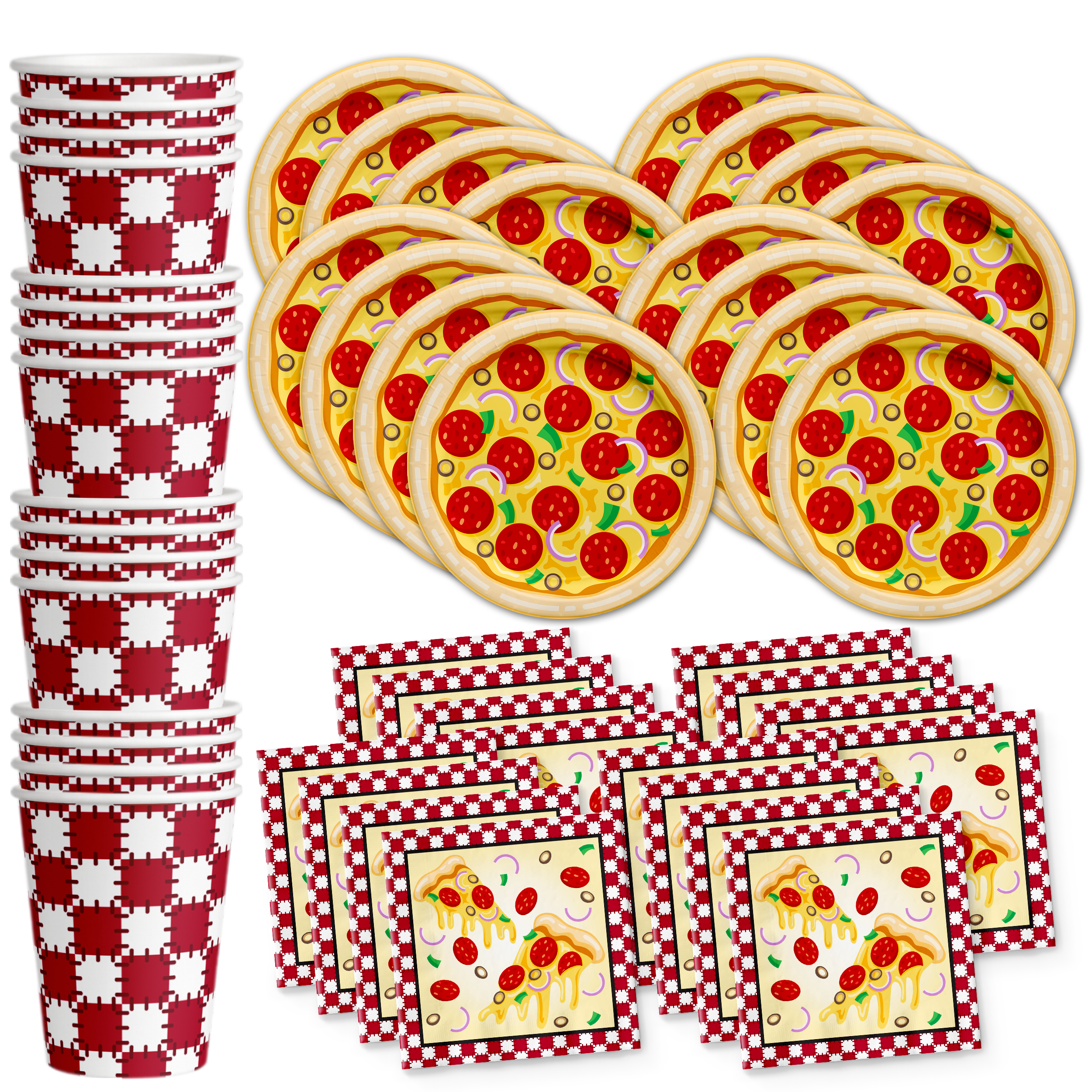 Pizza Birthday Party Tableware Kit For 16 Guests - BirthdayGalore.com