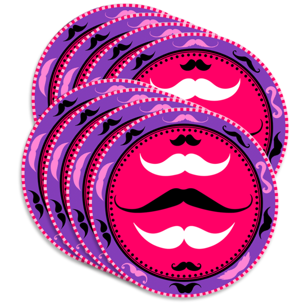 Pink Mustache Birthday Party Tableware Kit For 16 Guests