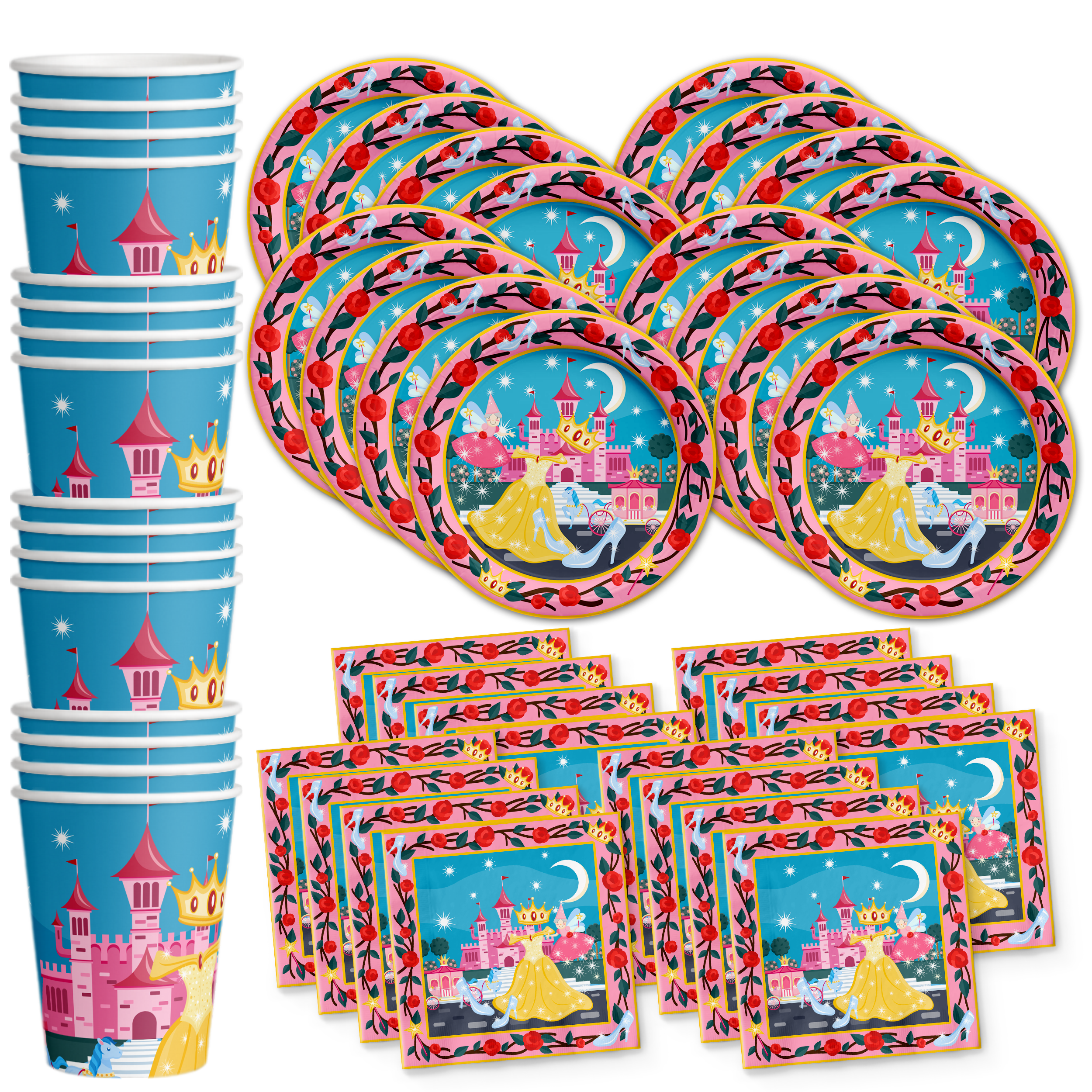 Princess Fairytale Birthday Party Tableware Kit For 16 Guests - BirthdayGalore.com