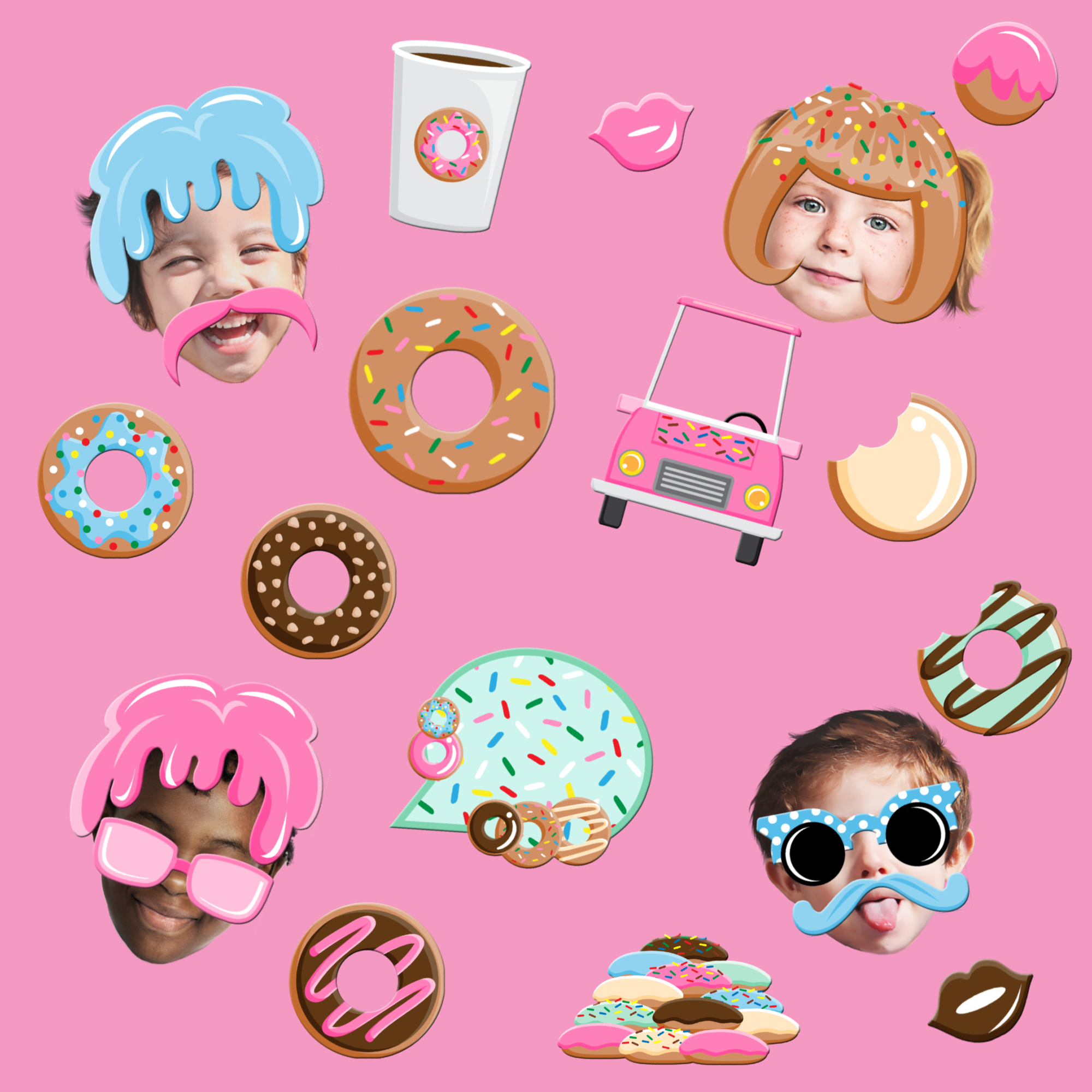 Donut Shoppe Photo Booth Props 20pcs Assembled - BirthdayGalore.com