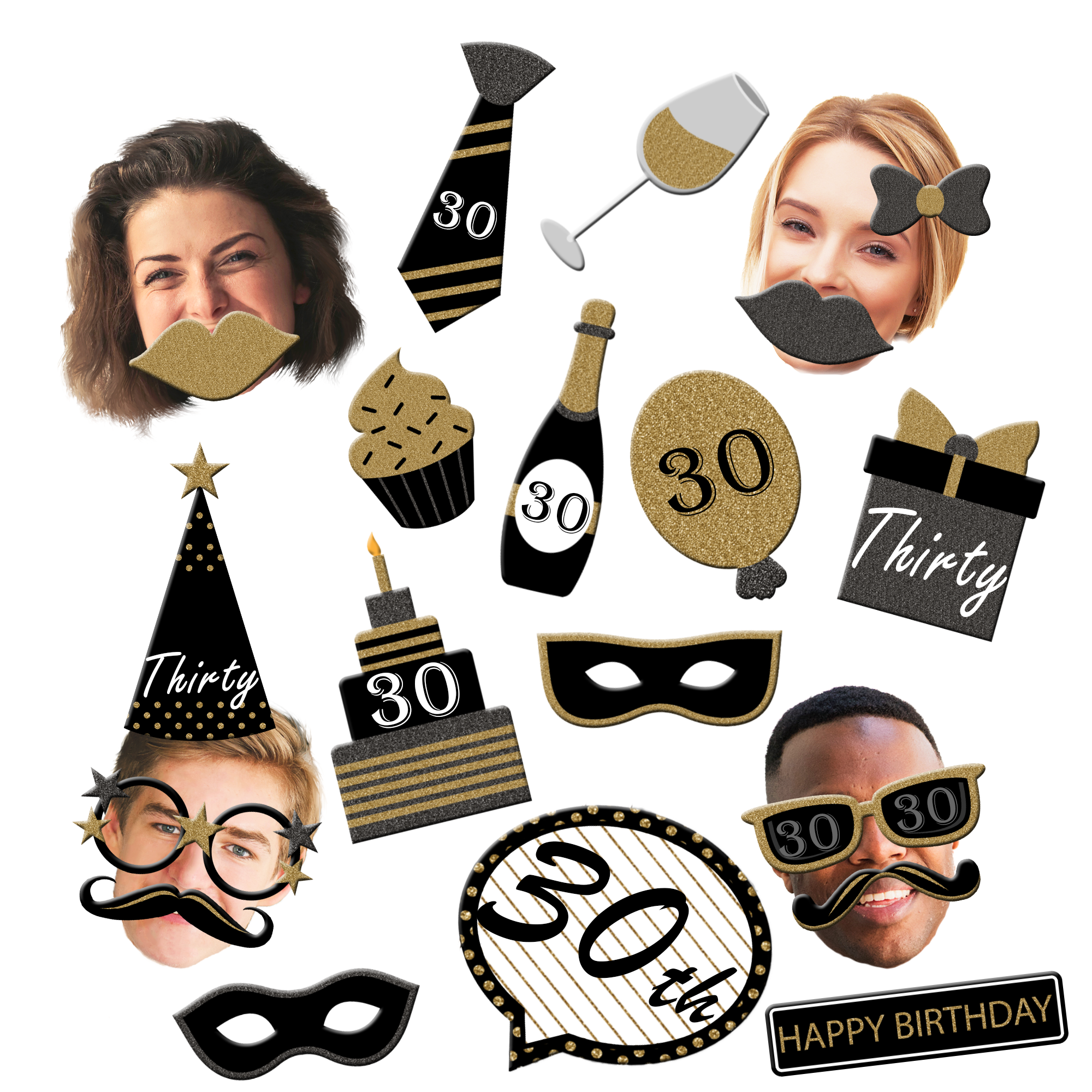 30th Birthday Black & Gold Photo Booth Props 20pcs Assembled - BirthdayGalore.com
