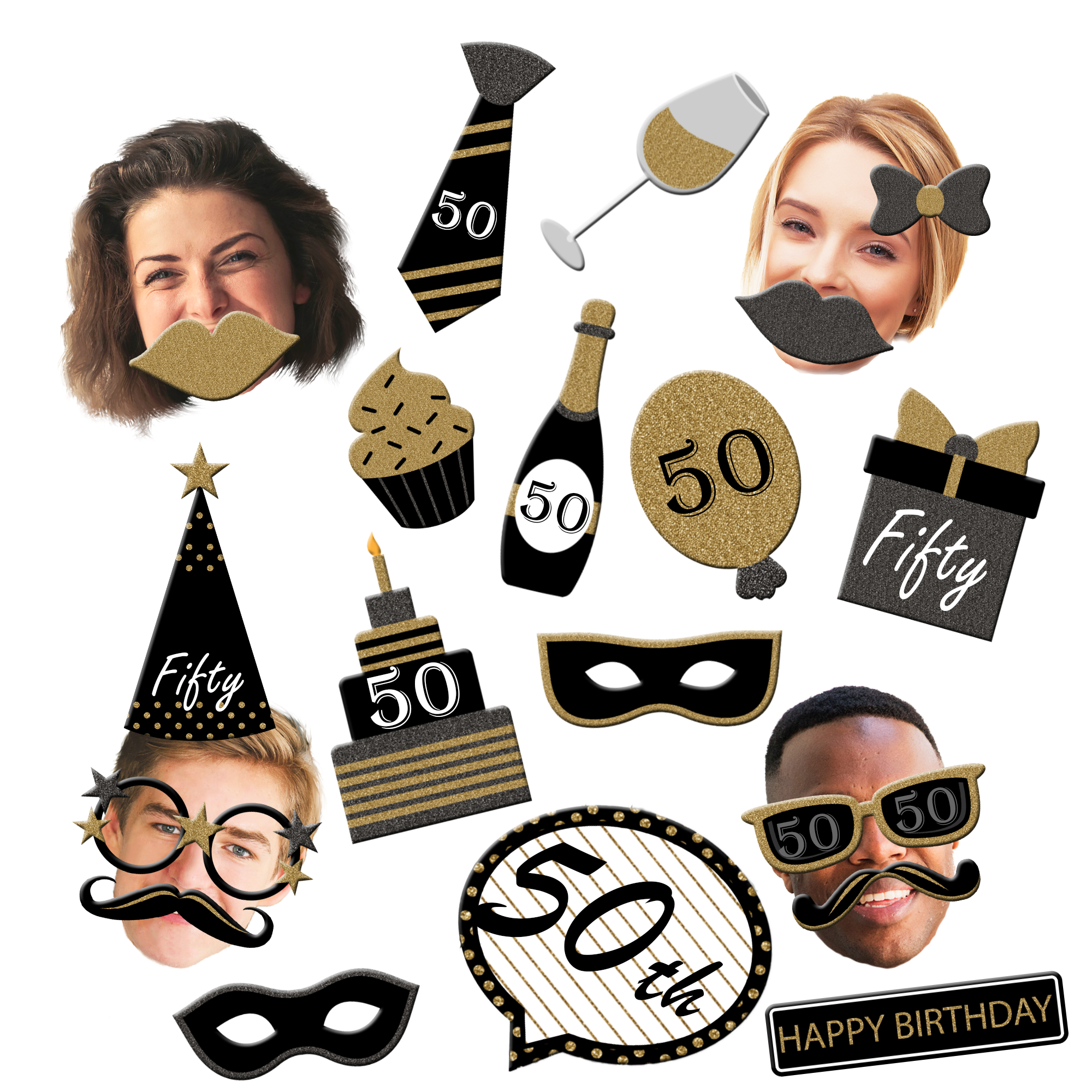 50th Birthday Black & Gold Photo Booth Props 20pcs Assembled - BirthdayGalore.com
