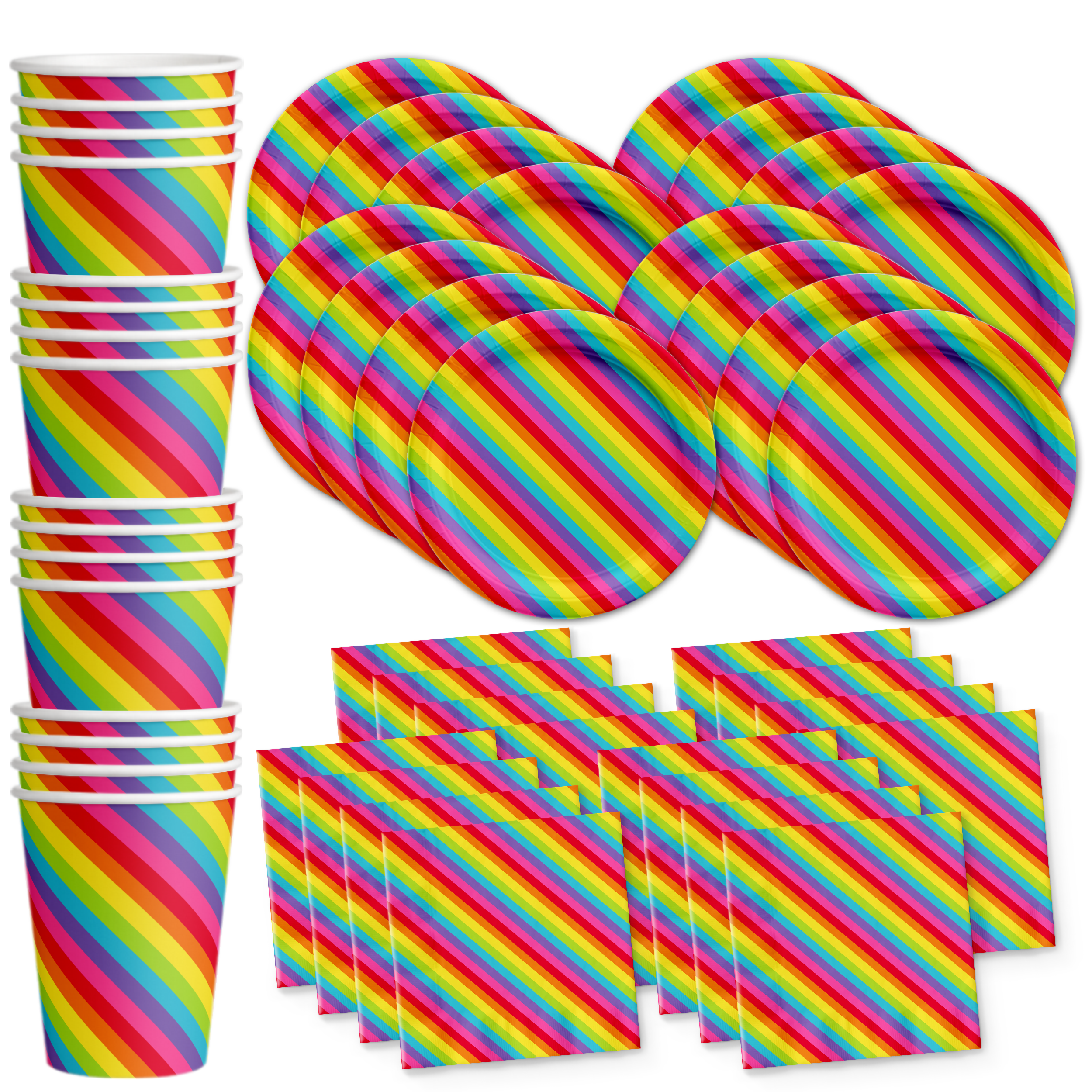 Rainbow Stripes Birthday Party Tableware Kit For 16 Guests - BirthdayGalore.com