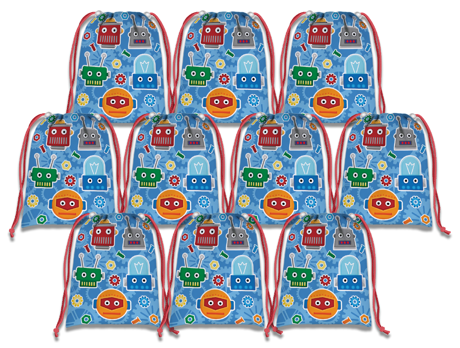 Robot Drawstring Tote Bag (10 Pack) - BirthdayGalore.com