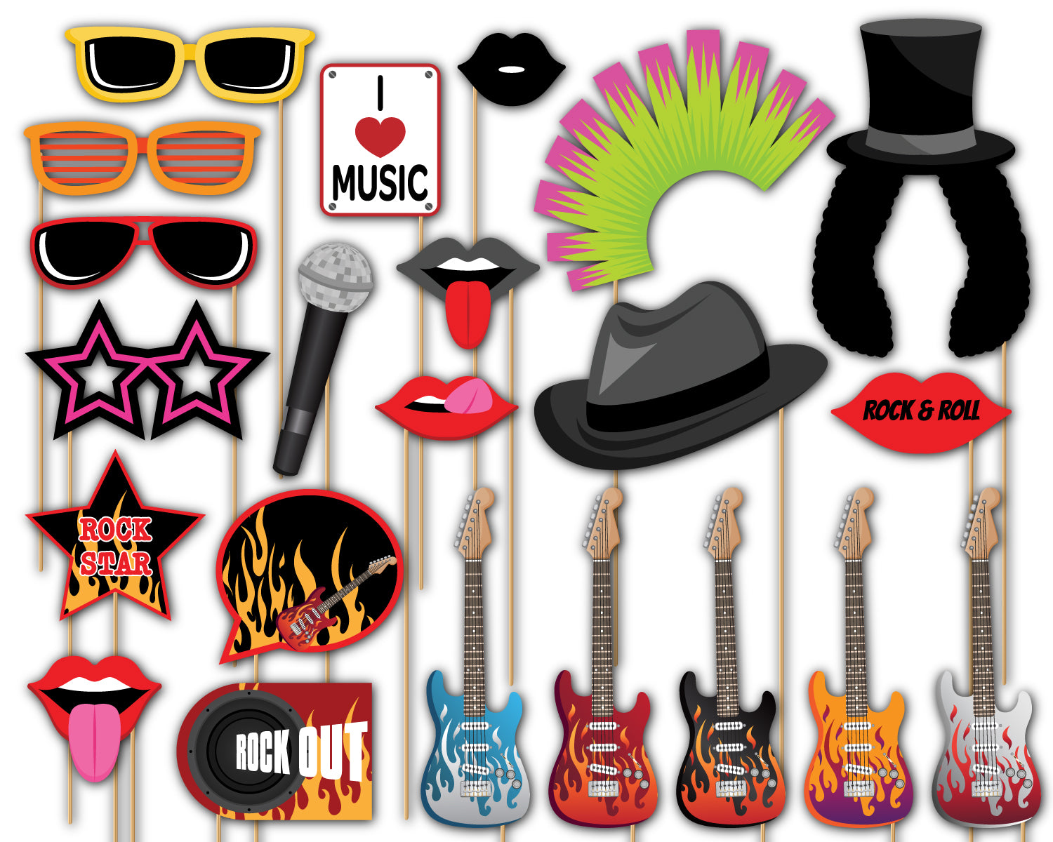 Rock Star Photo Booth Props 20pcs Assembled
