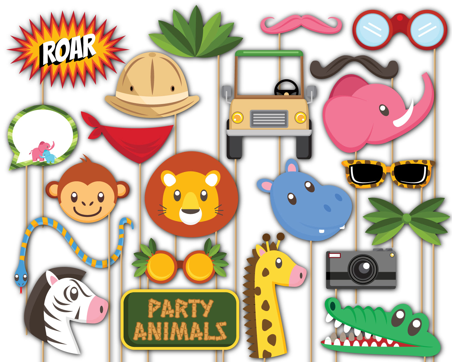 Jungle Animals Photo Booth Props 20pcs Assembled - BirthdayGalore.com