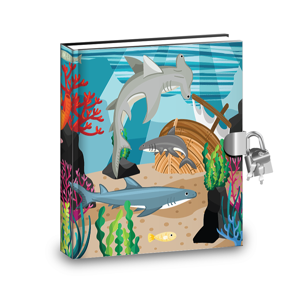 Gift Idea: Shark Kids Diary With Lock - BirthdayGalore.com