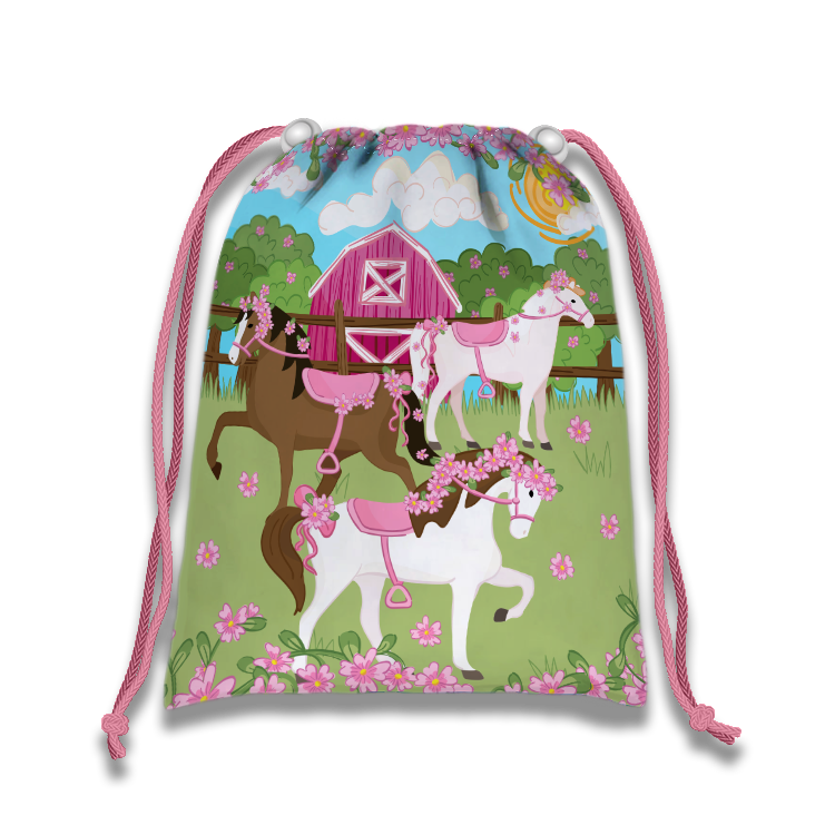 Lovely Pink Horse Drawstring Tote Bag (10 Pack) - BirthdayGalore.com
