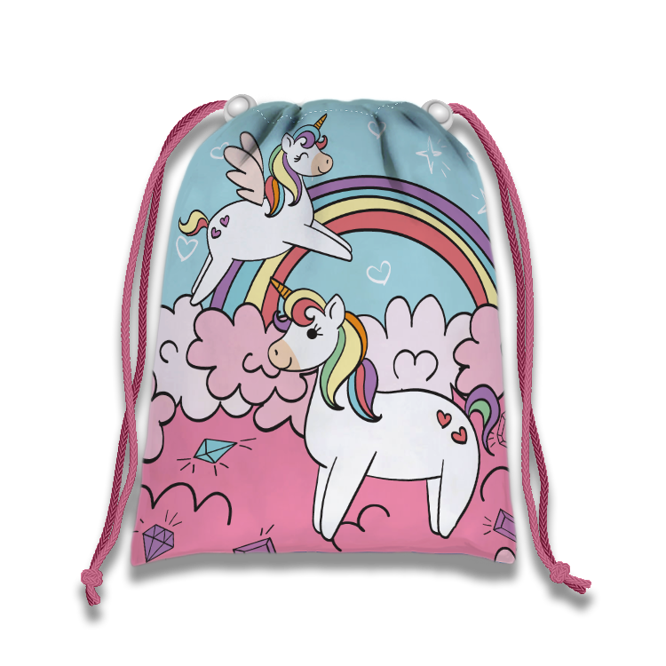 Rainbow Unicorn Drawstring Tote Bag (10 Pack) - BirthdayGalore.com