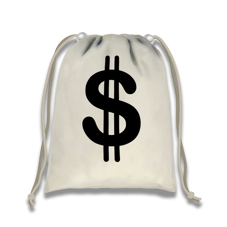 Money Drawstring Tote Bag (10 Pack) - BirthdayGalore.com