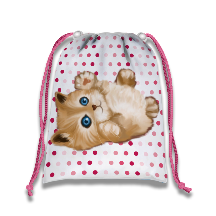 Kitty Cat Drawstring Tote Bag (10 Pack) - BirthdayGalore.com