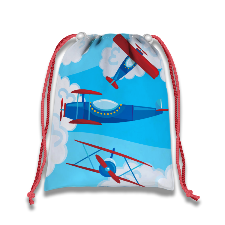 Airplane Drawstring Tote Bag (10 Pack) - BirthdayGalore.com