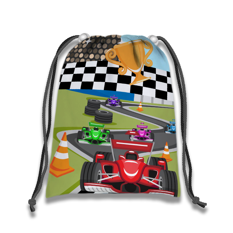 Race Car Drawstring Tote Bag (10 Pack) - BirthdayGalore.com