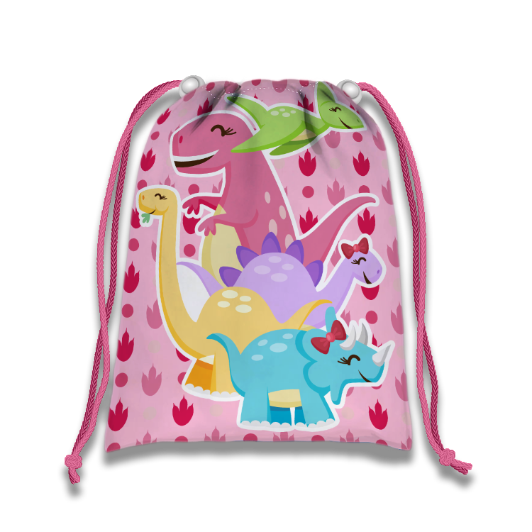 Girl Little Dino Pink Drawstring Tote Bag (10 Pack) - BirthdayGalore.com