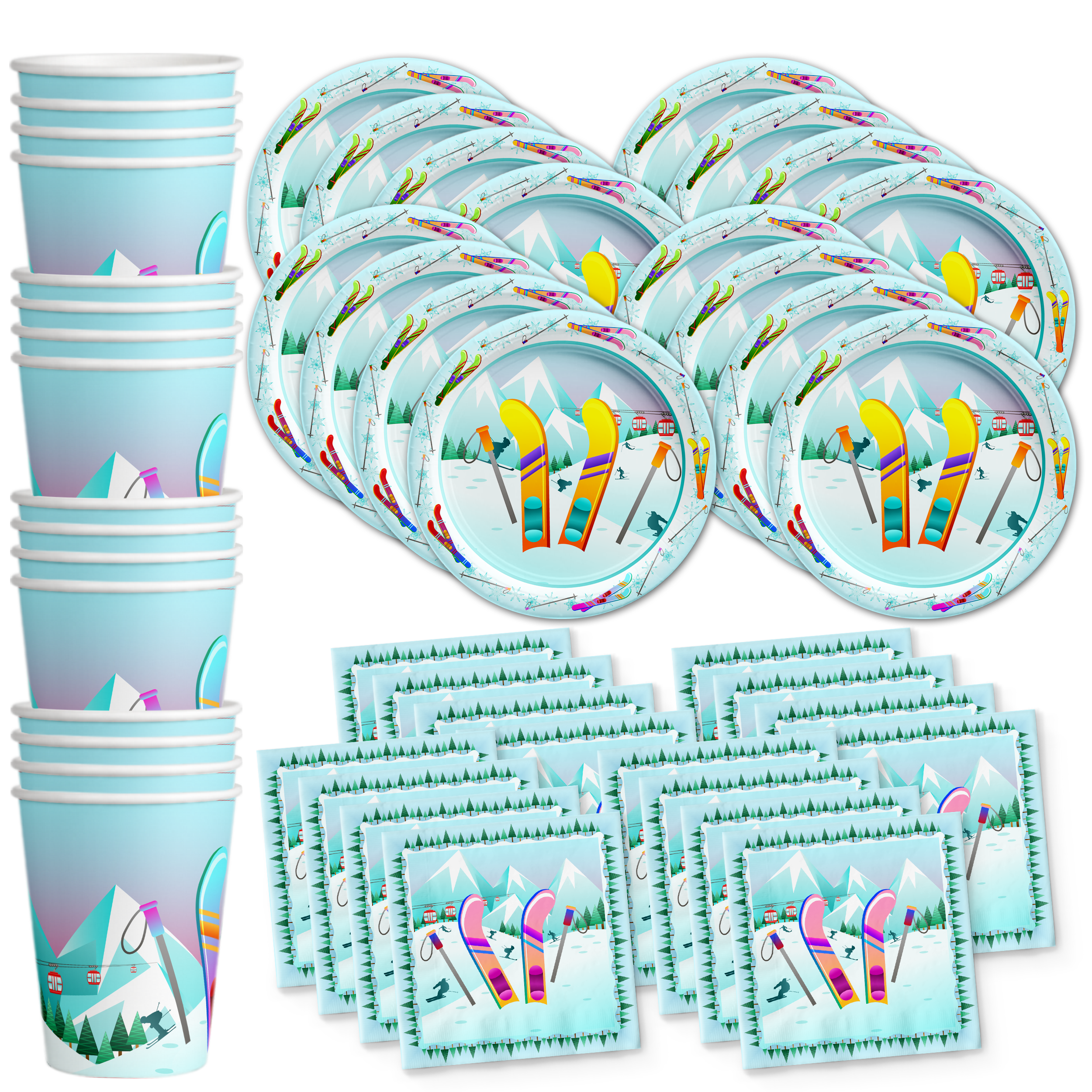 Ski Birthday Party Tableware Kit For 16 Guests - BirthdayGalore.com