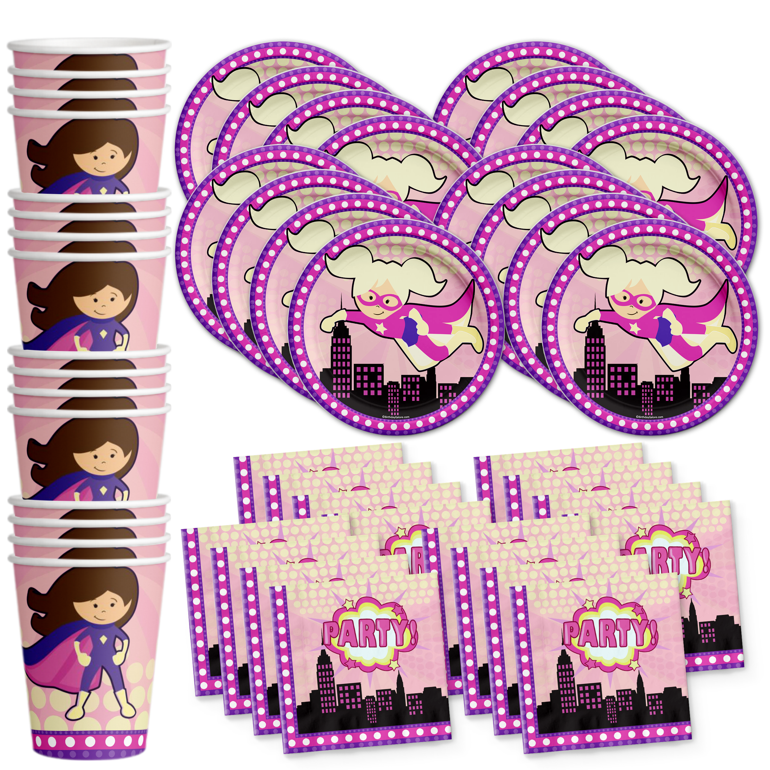 Superhero Girl Birthday Party Tableware Kit For 16 Guests