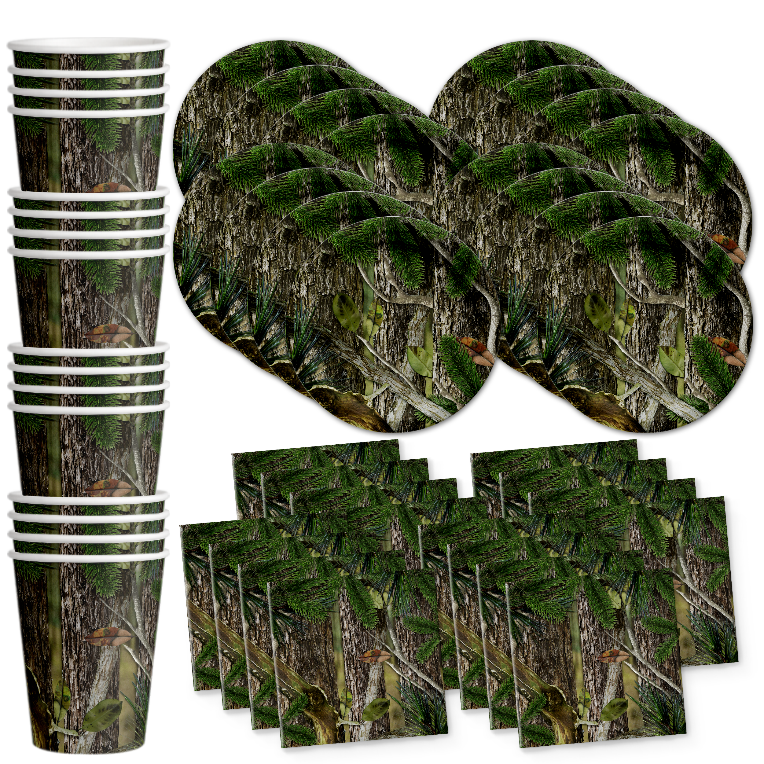Hunter Camo Birthday Party Tableware Kit For 16 Guests