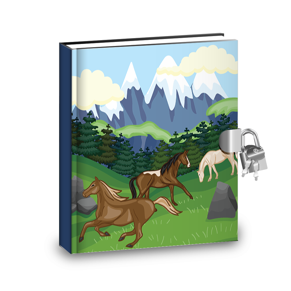 Gift Idea: Wild Horses Kids Diary With Lock - BirthdayGalore.com
