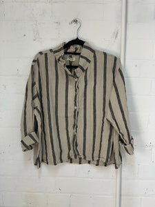Meg By Design Natural & BlackStripe Avery Linen Shirt