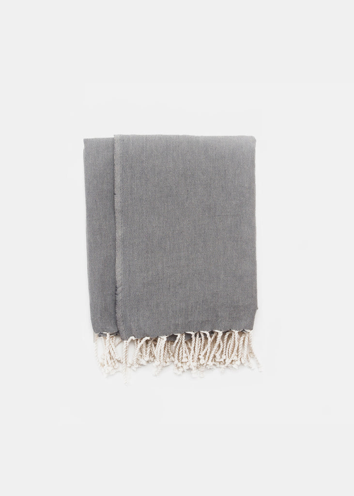 Turkish Towel Black Plain - YUYU Sustainable Home Goods