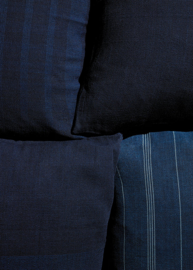 Indigo Pillow Stripes - YUYU Sustainable Home Goods