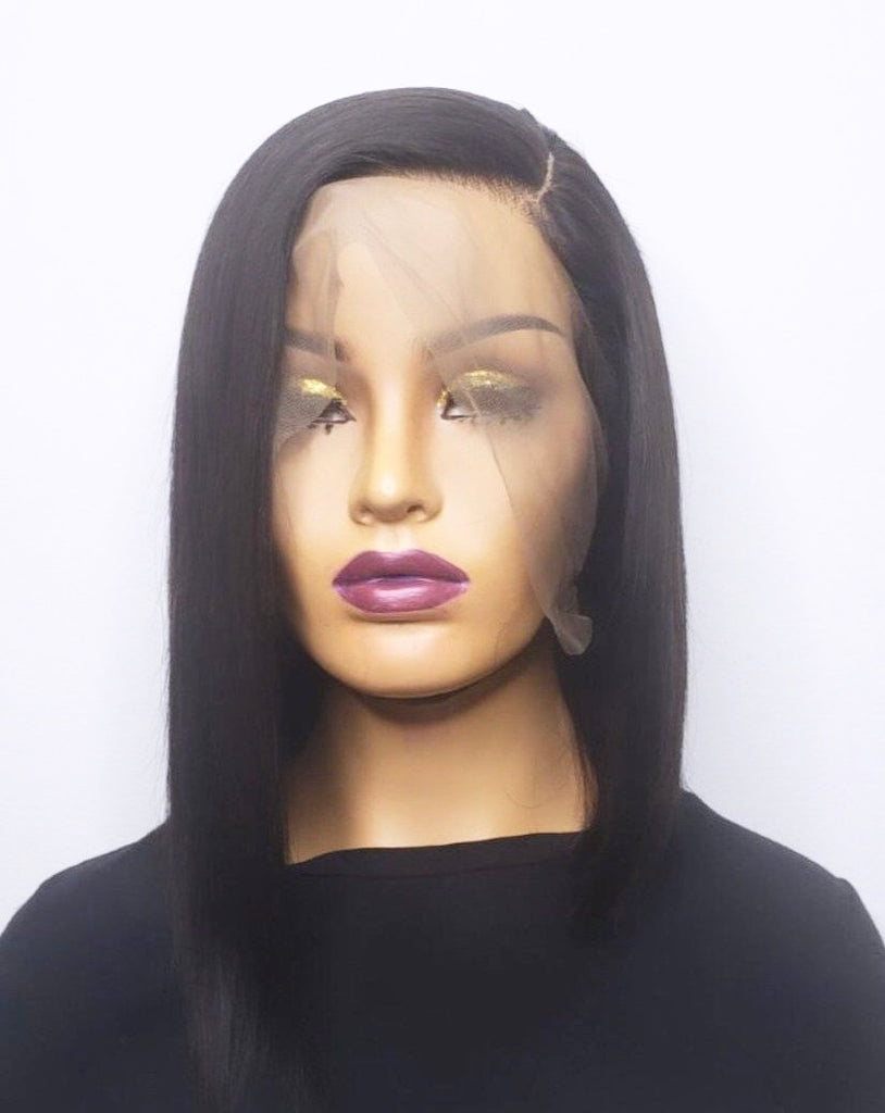 360 Lace Front Wig. Pre plucked wig with a natural hairline. High quality 100% human hair straight bob lace wig.