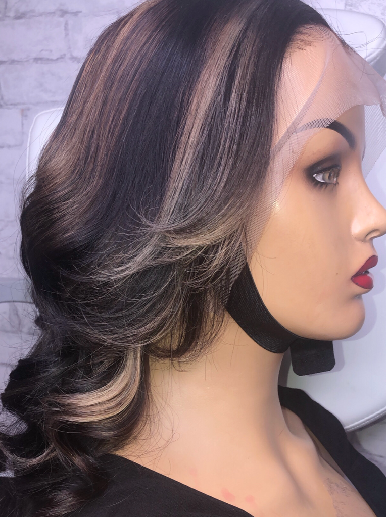 Raw Indian Layered Wig with Highlights