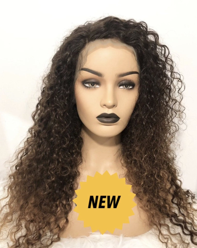Indian Curly Lace Front Wig with Honey Blonde Ombre'