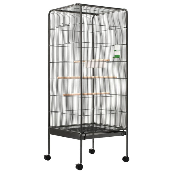 "Bird Cage Gray 21.3""x21.3""x57.5"" Steel 1 Feeding Tray 1 Water Dispenser 4 Wooden Perches 4 Casters Pull-out Tray at Bottom"