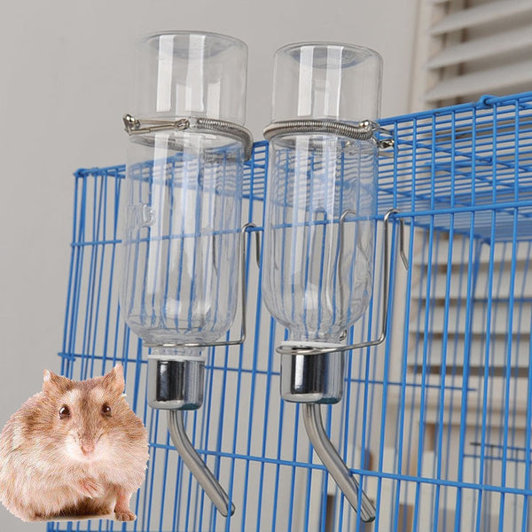 Small Pet, Rodent, Mice, Hamster, Gerbil, Rat Stainless Steel 180ML 350ML Drinking Straw Auto Water Bottle