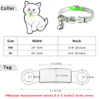 Nylon Cat Collar Personalized Pet Collars With Name ID Tag, Reflective Chihuahua, Kitten Collars Necklace For Pets Dog Accessories