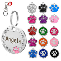Custom Dog Tag Engraved Pet Dog Collar Accessories. Personalize Stainless Steel Paw Name Tags Pendant Anti-lost