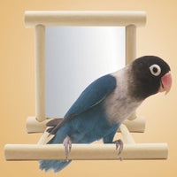 Cage Mounted Wooden Toy Mirror and Perch For Cockatiel, Parrots, Small Birds,  Pet Climb Accessories