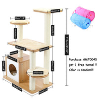 Pet Cat Tree House 7 Kinds House with Hanging Ball Cat Condo Climbing Frame Furniture Scratchers Post for Kitten Cat Playing Toy