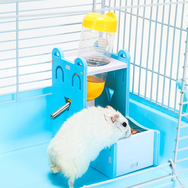 2 in 1 Plastic Hamster Drinking Water Dispenser and Feeder, Guinea Pig, Squirrel, Rabbit, Gerbils, Mice