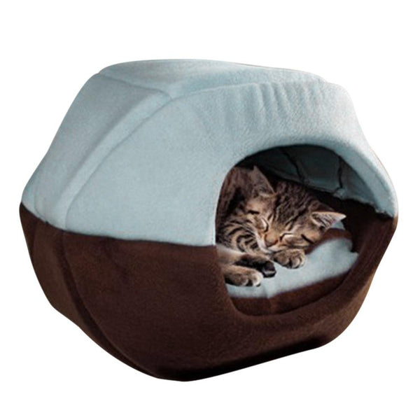 Winter Cat Dog Bed House, Fold-able Soft Warm Animal Puppy Cave, Sleeping Mat Pad Nest Kennel Pet Supplies P7Ding
